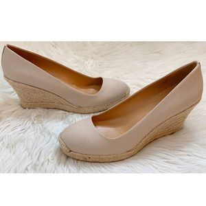 New J Crew Canvas Espadrille Wedges Size 10.5